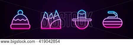 Set Line Beanie Hat, Mountains, Canadian Ranger And Stone For Curling. Glowing Neon Icon. Vector