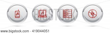 Set Line Music Player, Laptop With Music Note, Playlist And Cd Or Dvd Disk. Silver Circle Button. Ve