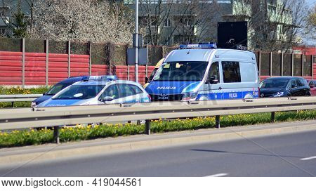 Warsaw, Poland. 28 April 2021. Police Car And An Accident On The Road. Police Flashing Blue Lights A