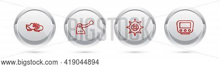 Set Line Bicycle Shoes, Brake, Sprocket Crank And Speedometer. Silver Circle Button. Vector