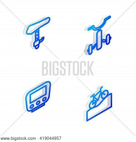 Set Isometric Line Bicycle For Kids, Seat, Speedometer And Mountain Bicycle Icon. Vector