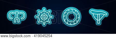 Set Line Bicycle Handlebar, Sprocket Crank, Wheel Tire And Seat. Glowing Neon Icon. Vector