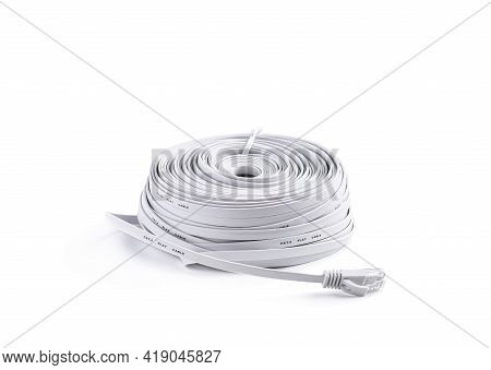 Honk  Of The Flat High Speed Ethernet Cable With Rj45 Connector Isolated On White