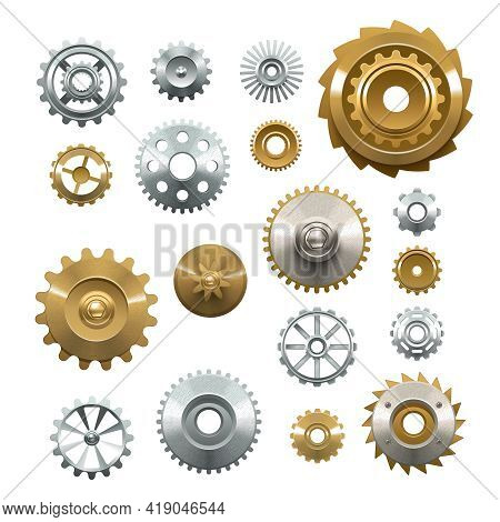 Decorative Set Of Shiny Metal  Gears On White Background In Realistic Style Isolated Vector Illustra