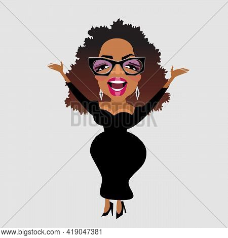 May 1, 2021. Caricature Of Celebrity Oprah Winfrey In Heavy Glasses And Black Dress. Vector Illustra