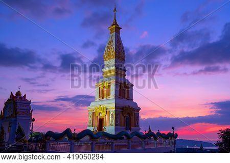 Beautiful Sunset At Wat Doi Thepnimit Monastery On The Top Of Patong Hill Phuket Thailand On April 1