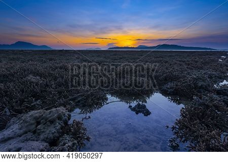 Beautiful Sunset Or Sunrise Seascape Amazing Cloud At Sunrise Light Above The Coral Reef In Rawai Se
