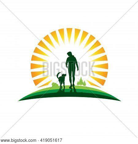 Mans Best Friend Vector Illustration Logo. Best Used For Rehabilitation Center, Support Center Infog