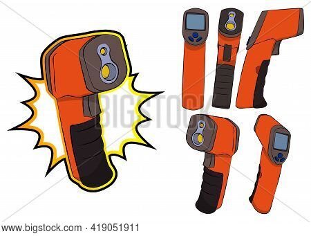 Collection Of A Handheld Non-contact Digital Infrared Thermometer Gun. Set Of Vector Illustrated Com
