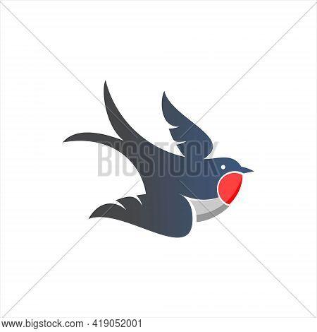 Swallow Logo Design Cute Small Bird Vector Animal Mascot Illustration For Nature Or Wildlife Symbol