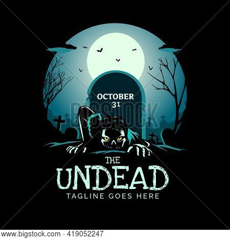 The Undead Zombie Theme Vector Illustration Can Be Used As Logo, Tshirt Graphic, Or Any Other Purpos