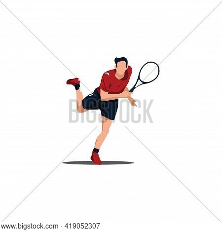Sport Man Swing His Tennis Racket To Smash The Ball - Tennis Athlete To Smashing The Ball Cartoon Is