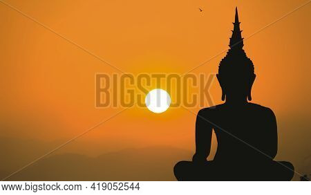 Silhouette Buddha And Cool Light In Buddhism, Thailand