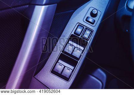 Novosibirsk, Russia - April 25 2021:subaru Forester, Interior Of Modern Car. Side Door Buttons: Wind