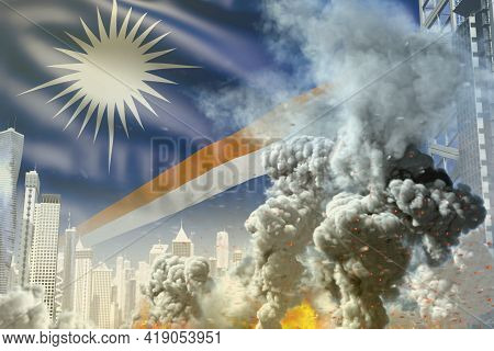 Huge Smoke Column With Fire In The Modern City - Concept Of Industrial Explosion Or Terroristic Act