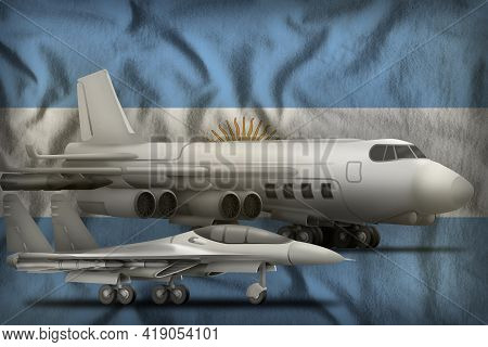 Air Forces On The Argentina Flag Background. Argentina Air Forces Concept. 3d Illustration