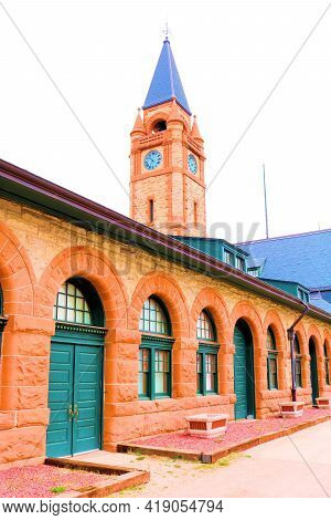 April 26, 2021 In Cheyenne, Wy:  Historical Train Depot With A Clock Tower Taken In The Cheyenne, Wy