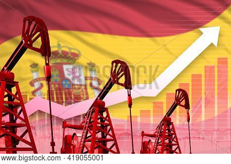 Spain Oil Industry Concept, Industrial Illustration - Rising Up Chart On Spain Flag Background. 3d I
