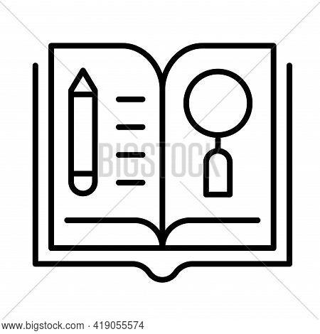 Monochrome Simple Open Paper Book Literature Icon Vector Illustration Textbook Or Publish Magazine