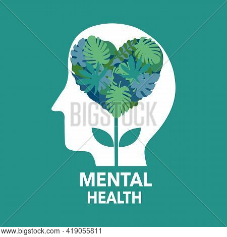 Silhouette Of Human Head With Nature Leaves Inside. Mental Health Concept Vector Illustration. Psych