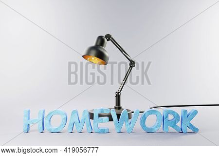 Black Industry Desk Lamp On Grey Colored Surface With Clay Stylized Lettering Homework; Concept 3d H