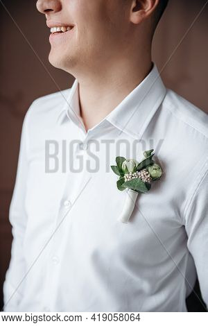 The Decorative Detail On The Shirt Of The Groom. Wedding Design Groom's Boutonniere.
