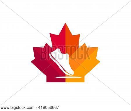 Maple Shoe Logo Design. Canadian Shoe Logo. Red Maple Leaf With Athlete Running Shoe Vector