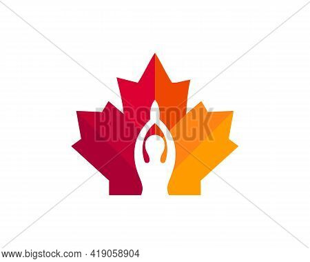 Canadian Yoga Logo. Maple Leaf With Female Yoga Vector. Maple Freedom Yoga Girl Logo Design