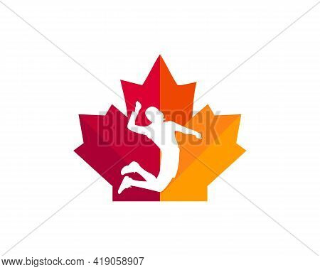 Maple Volleyball Player Logo Design. Canadian Volleyball Player Logo. Red Maple Leaf With Volleyball