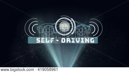 Composition of self driving car drawing with light trails on black background. global networking, automobile industry, driving and technology concept digitally generated image.