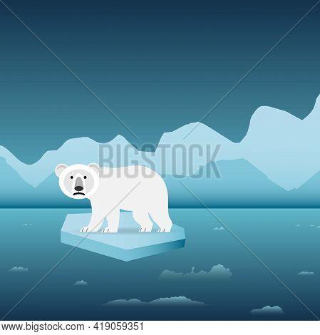 Polar Bear Alone On An Iceberg, Conceptual Vector