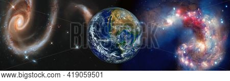 Beautiful Earth . Panoramic View Of The Earth, Sun, Star And Galaxy. Sunrise Over Planet Earth, View