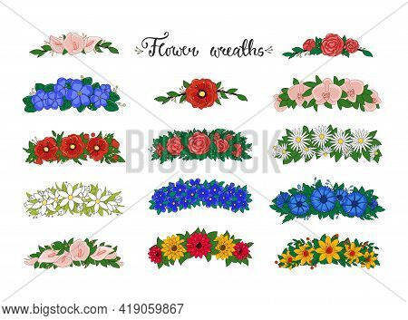 Flower Wreaths. Set Of Flower Tiaras With Daisies, Roses, Orchids, Poppies, Snowdrops. Wedding Decor
