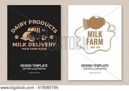 Milk Delivery Badge, Logo. Vector. Flyer, Brochure, Banner, Poster Design With Milk Truck, Milk Can