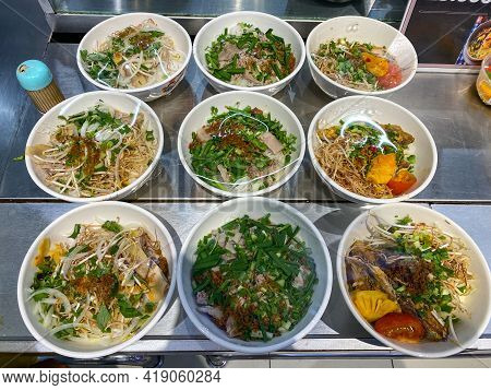 Delicious Pho Bowl And Noodle Soup In Food Court In Vietnam