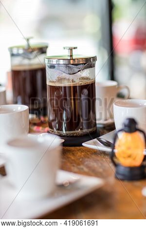French Press Coffee Maker. Morning Concept. Coffee Siphon. Spent Coffee Break At The Organic Cafe An