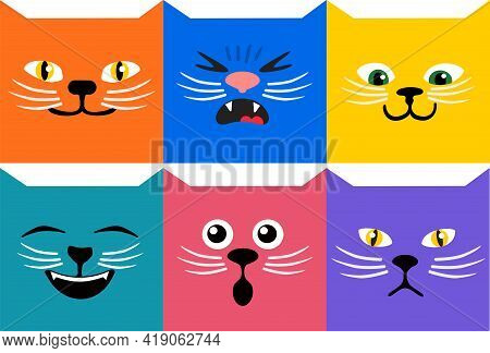 Cats Emoji Square Emoticon Smile Cute Vector Illustration Abstract Faces. Kitty Square Emotional Fac