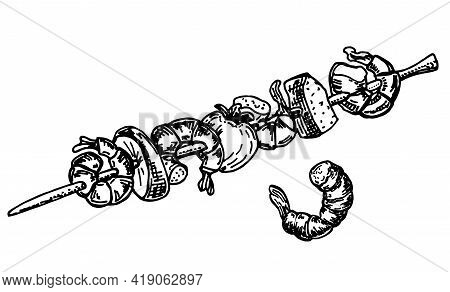 Delicious Grilled Skewers Menu Barbecue Stick Shrimps And Vegetable. Icon Vector Illustration Sketch