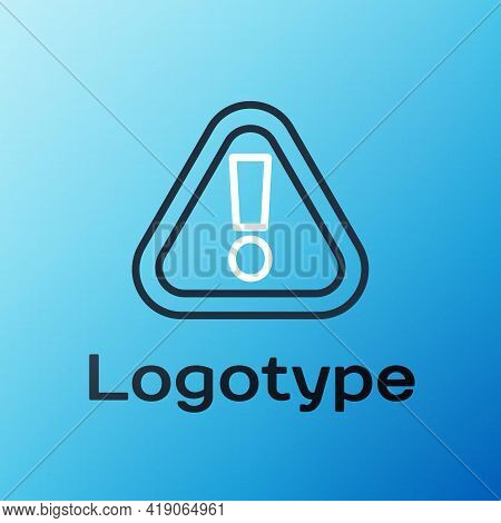 Line Exclamation Mark In Triangle Icon Isolated On Blue Background. Hazard Warning Sign, Careful, At