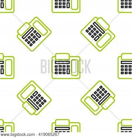 Line Telephone Icon Isolated Seamless Pattern On White Background. Landline Phone. Vector Illustrati