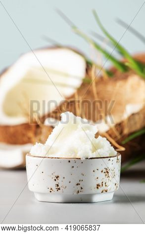 Mct Coconut Butter Or Hard Oil. Organic Healthy Food, Beauty And Spa Product. Gray Background