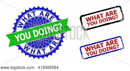 Bicolor What Are You Doing Question Seals. Blue And Green What Are You Doing Question Stamp With Sha