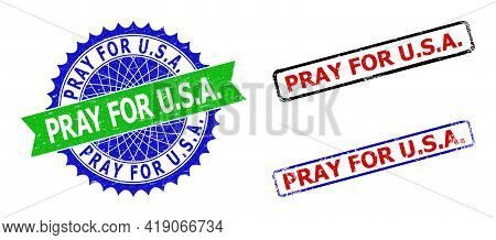 Bicolor Pray For U.s.a. Seal Stamps. Blue And Green Pray For U.s.a. Seal Stamp With Sharp Rosette An