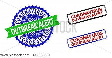 Bicolor Coronavirus Outbreak Alert Seal Stamps. Blue And Green Coronavirus Outbreak Alert Watermark