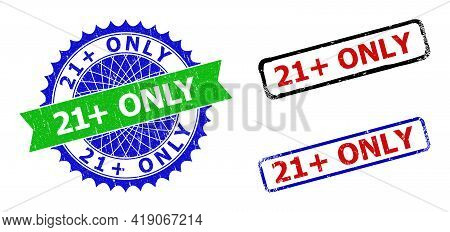 Bicolor 21 Plus Only Seal Stamps. Blue And Green 21 Plus Only Seal With Sharp Rosette And Ribbon Ele