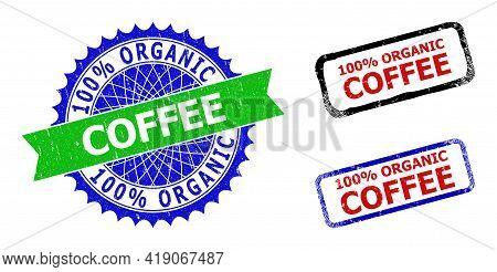 Bicolor 100 Percents Organic Coffee Seals. Blue And Green 100 Percents Organic Coffee Seal Stamp Wit