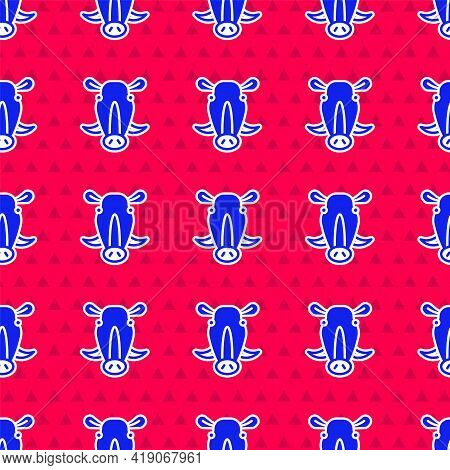 Blue Wild Boar Head Icon Isolated Seamless Pattern On Red Background. Animal Symbol. Vector