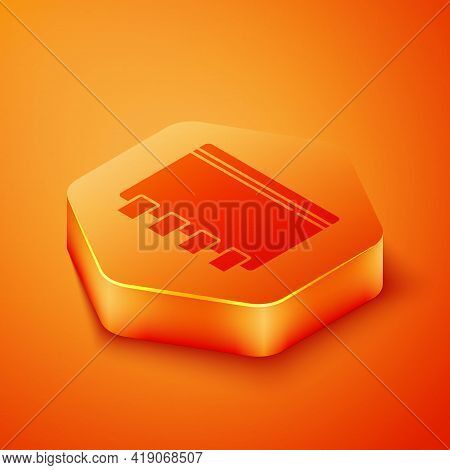 Isometric Notebook Icon Isolated On Orange Background. Spiral Notepad Icon. School Notebook. Writing