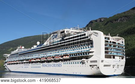 Flam, Norway On July 2019: White Liner Sapphire Princess Cruises In Sogn Og Fjordane Region With Cle