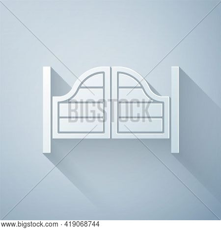 Paper Cut Old Western Swinging Saloon Door Icon Isolated On Grey Background. Paper Art Style. Vector